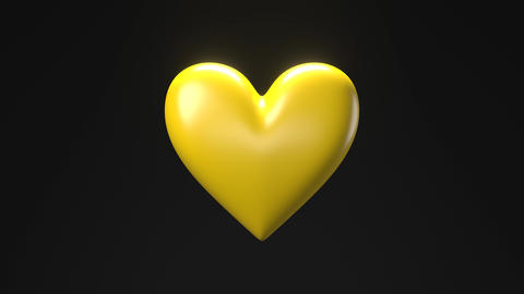 Yellow broken heart objects in black background. Heart shape object shattered into pieces Animation
