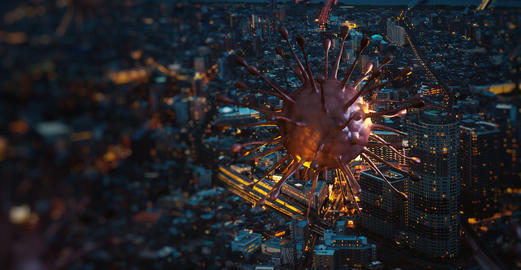 Image of covid-19 virus cell (coronavirus 2019) above in the city night. Concept of spread of the Photo