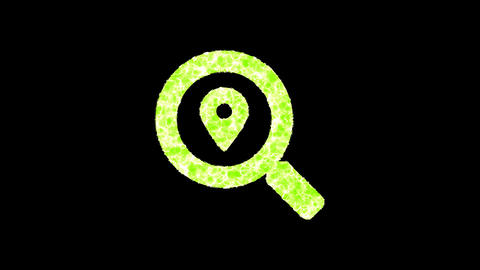 Symbol search location shimmers in three colors: Purple, Green, Pink. In - Out loop. Alpha channel Animation