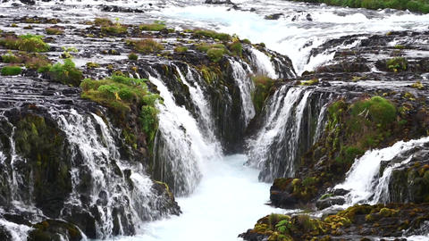 Bruarfoss Waterfall, Iceland. Beautiful and colorful waterfall Live Action