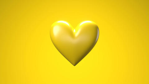 Yellow broken heart objects in yellow background. Heart shape object shattered into pieces Animation