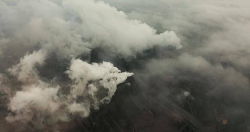 Aerial view. Emission to atmosphere from industrial pipes. Smokestack pipes Live Action