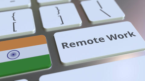 Remote Work text and flag of India on the computer keyboard. Telecommuting or ライブ動画