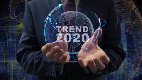 Male hands activate hologram Trend 2020 Live Action