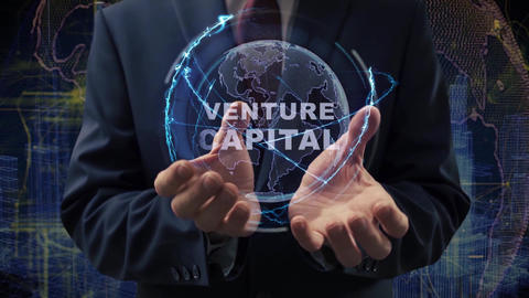 Male hands activate hologram Venture Capital Live Action