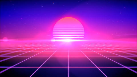 80s retro style abstract background with sun, space and perspective grid lights, 3d rendering Photo