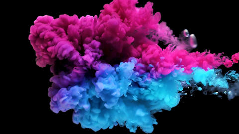 Colors ink splashing in water isolated on black background GIF