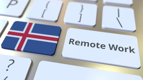 Remote Work text and flag of Iceland on the computer keyboard. Telecommuting or Live Action