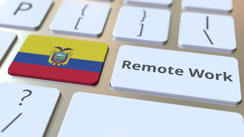 Remote Work text and flag of Ecuador on the computer keyboard. Telecommuting or ライブ動画