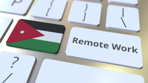 Remote Work text and flag of Jordan on the computer keyboard. Telecommuting or ライブ動画