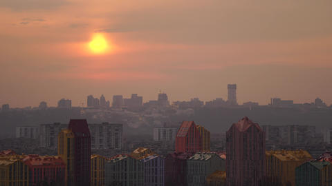 Kiev cityscape during dramatic sunset. Ukraine. comfort town Live Action