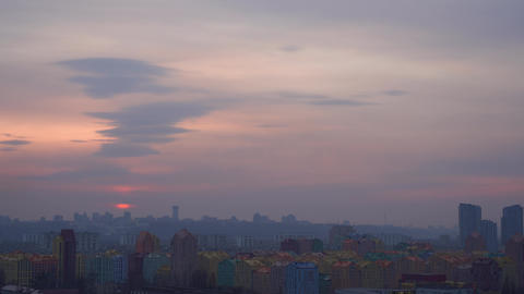 Kiev cityscape during dramatic sunset with amazing cloudscape, Ukraine Live Action