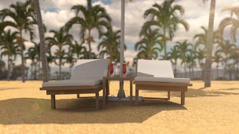 Vacation on the hot beach under beach umbrella Animation