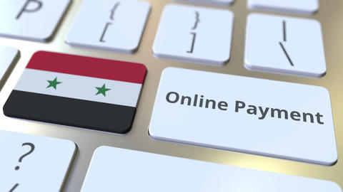 Online Payment text and flag of Syria on the keyboard. Modern finance related Live Action