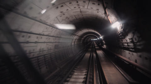 View through the glass of subway car riding at high speed in the underground Live Action