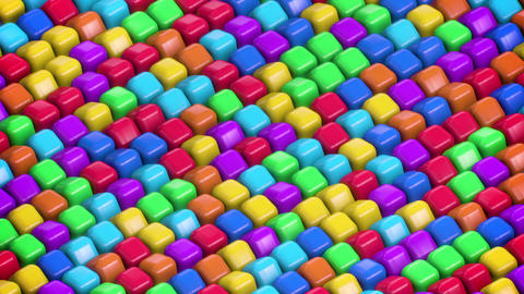 Rotating 3D Isometric Colorful Children Round Cubes Animation