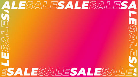 Sliding Text Border of Words SALE on Red, Cyan and Orange Gradient Backdrop Animation