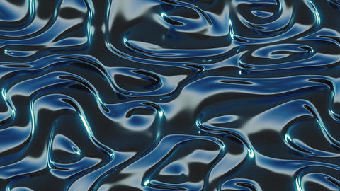 Abstract Dark Blue Metallic Animated 3D Waves Animation