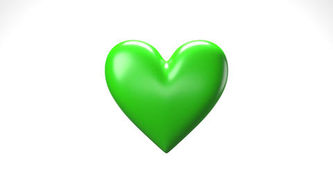 Green broken heart objects in white background. Heart shape object shattered into pieces CG動画
