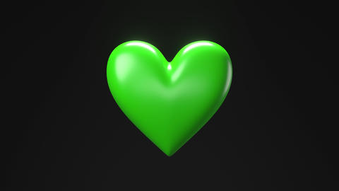 Green broken heart objects in black background. Heart shape object shattered into pieces Animation