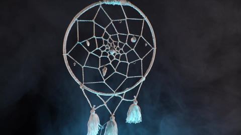 dream catcher surrounded by cold smoke. curse, witchcraft and magic Live Action