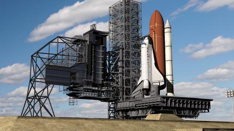 Realistic 3D Animation of Space shuttle ready to launch, Earth Orbital Live Action