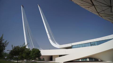 Doha, Qatar, January 03 2020 - View of Qatar foundation mosque in Doha Qatar Live Action