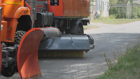 Equipment for cleaning streets and road surfaces Stock Video Footage