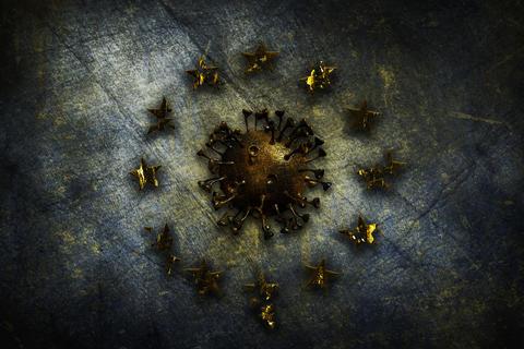 Coronavirus, COVID-19 outbreak pandemic all over European Union. Infected EU flag. Corona Bacteria Fotografía