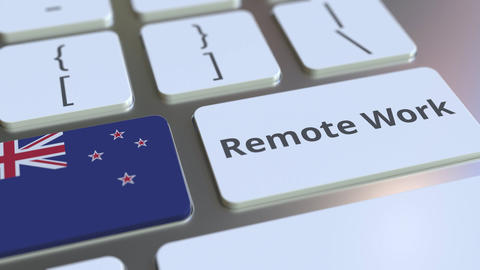 Remote Work text and flag of New Zealand on the computer keyboard. Telecommuting ライブ動画