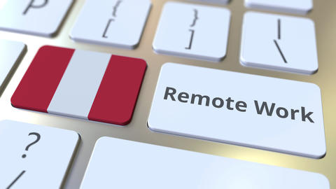Remote Work text and flag of Peru on the computer keyboard. Telecommuting or Live Action