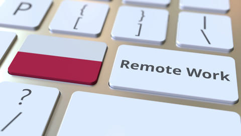 Remote Work text and flag of Poland on the computer keyboard. Telecommuting or ライブ動画