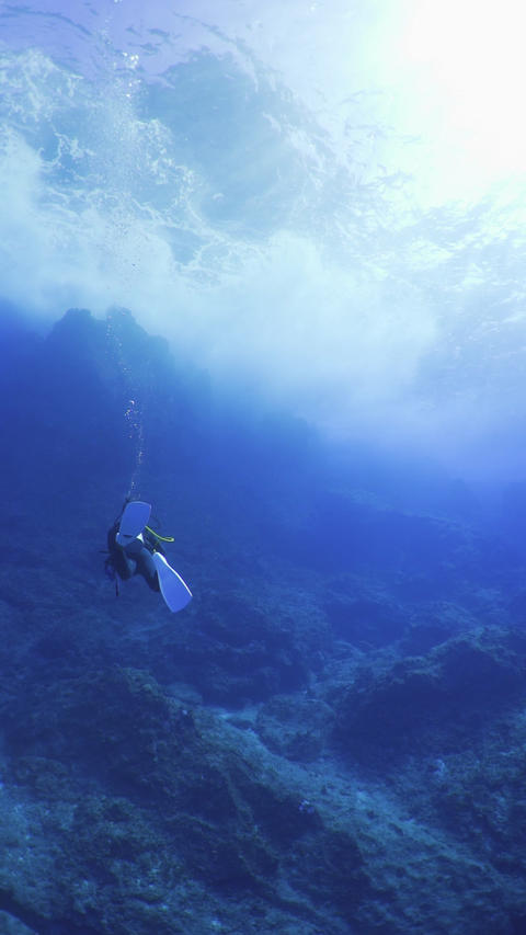 Vertical video of scuba diving Live Action