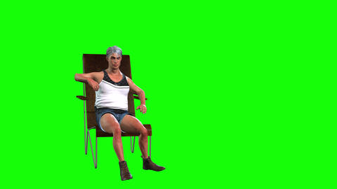 577 4k 3d animated avatar of man sitting in chair talking Animation