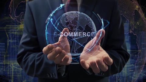 Male hands activate hologram E-commerce Live Action