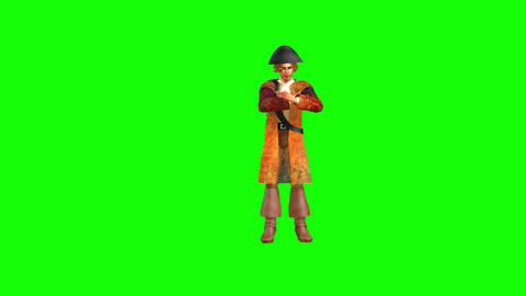 580 4k 3d animated avatar musketeer walks and thinks Animation