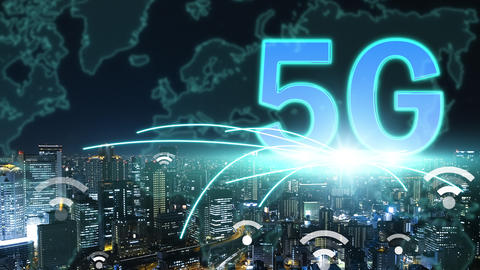 5G network connection with city background concepts Live影片