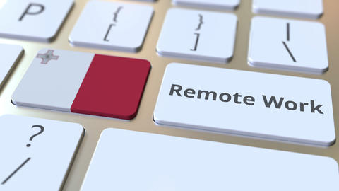 Remote Work text and flag of Malta on the computer keyboard. Telecommuting or ライブ動画