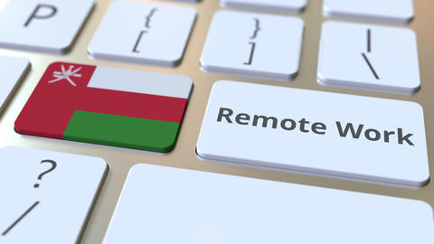 Remote Work text and flag of Oman on the computer keyboard. Telecommuting or ライブ動画