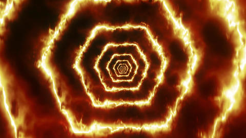 Hexagons of Fire Tunnel VJ Loop Motion Background Animation