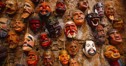 Religious Traditional Middle America Masks on a Wall Live Action