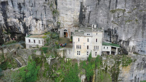 Aerial view of the Grotto of Maria Magdalena in France, Plan D'Aups, the massif Live Action