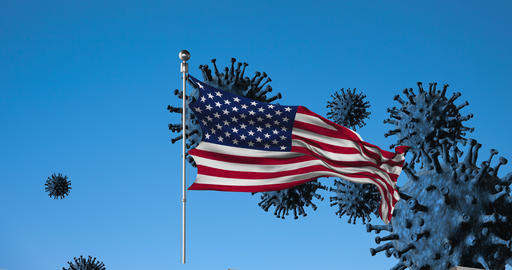 USA flag on a background of viruses and a fence animation Live-Action
