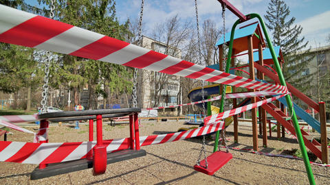 Empty blocked children playground in residential area of Chisinau, Moldova Live-Action