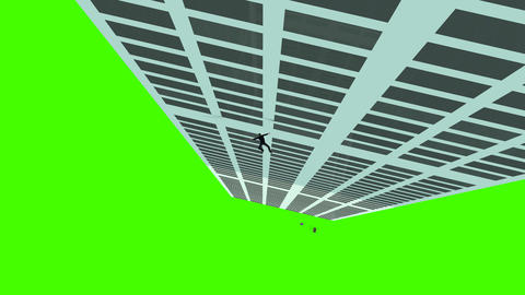 Animated Man Falling From Skyscraper: Greenscreen + Matte Animation
