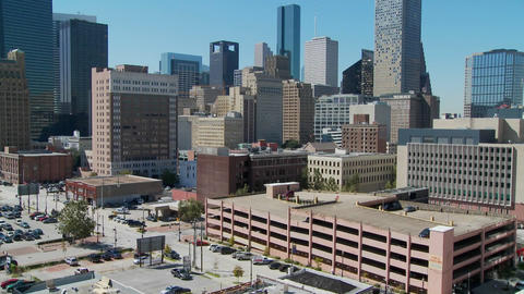 A tilt up the skyline of Houston Texas Stock Video Footage