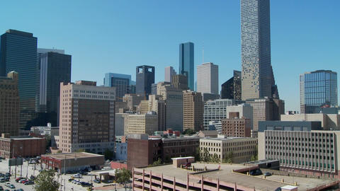 A tilt up the skyline of Houston Texas Stock Video Footage