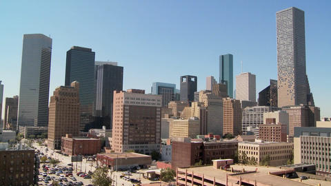 The Houston skyline on a bright sunny day Footage