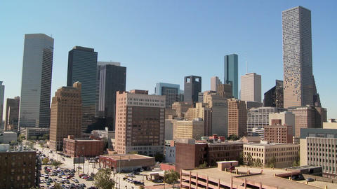 The Houston skyline on a bright sunny day Stock Video Footage