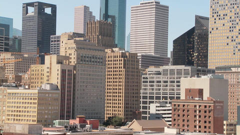 Close of Houston skyline on a bright sunny day Stock Video Footage